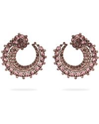 Oscar de la Renta - Curved Crystal Embellished Earrings - Lyst