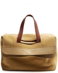 JW Anderson - Tool Leather-trimmed Suede Tote - Lyst