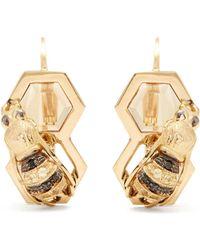 Delfina Delettrez - - Diamond, Sapphire & Yellow Gold Earrings - Womens - Gold - Lyst