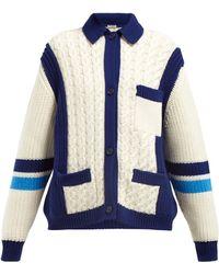 89d333f3209 Miu Miu - Intarsia Stripe And Cable Knit Wool Cardigan - Lyst