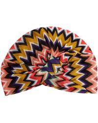 Missoni - Front Twist Zigzag Crochet Knit Turban Hat - Lyst