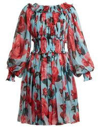 Dolce & Gabbana - Rose-print Chiffon Dress - Lyst
