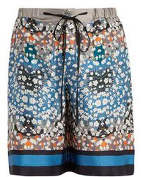 Meng - Long Floral-print And Striped Silk Pyjama Shorts - Lyst