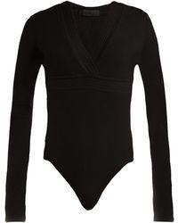 ATM - Ribbed Jersey V Neck Bodysuit - Lyst