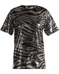 Halpern - Zebra-patterned Sequinned T-shirt - Lyst