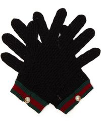 Gucci - Web Striped Crochet Gloves - Lyst