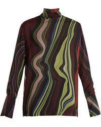 By. Bonnie Young - Asylum-print High-neck Silk-chiffon Top - Lyst