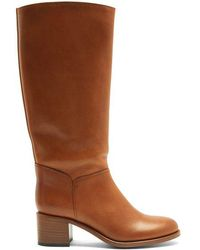 A.P.C. - Iris Block-heel Leather Knee-high Boots - Lyst