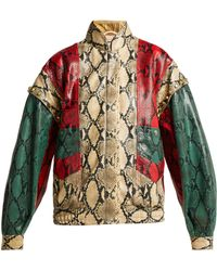 Gucci - Python Print Leather Bomber Jacket - Lyst