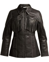 Ganni - Fringed Textured-leather Jacket - Lyst