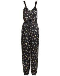 Morgan Lane - Suki Brooch-print Silk Jumpsuit - Lyst