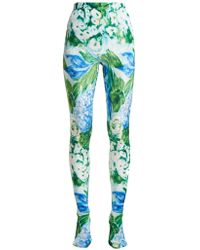 Richard Quinn - Floral Print Stretch Velvet Leggings - Lyst
