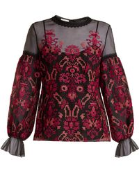 Oscar de la Renta - Cross Stitch Embroidered Silk Organza Top - Lyst