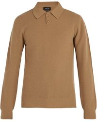 A.P.C. - Guitry Long-sleeved Wool-blend Polo Shirt - Lyst