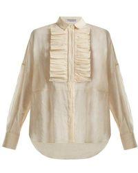 Brunello Cucinelli - Ruffled-bib Semi-sheer Cotton Shirt - Lyst