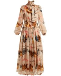 Dolce & Gabbana - Hen And Calligraphy Printed Silk Gown - Lyst