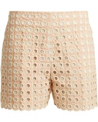 Chloé | Embroidered Eyelet Cotton-blend Shorts | Lyst