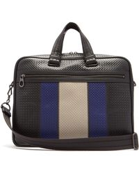 Bottega Veneta - Striped Intrecciato Leather Briefcase - Lyst