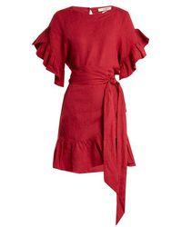 Étoile Isabel Marant - Delicia Ruffle-trimmed Linen Wrap Dress - Lyst