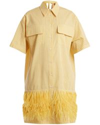 N°21 - Feather-trimmed Cotton-gingham Dress - Lyst