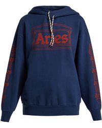 Aries - Logo-print Hooded Cotton Sweatshirt - Lyst