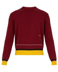 CALVIN KLEIN 205W39NYC - Striped-hem Wool-blend Knit Jumper - Lyst