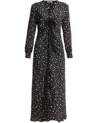 Miu Miu - Star Print Ruffled Silk Midi Dress - Lyst