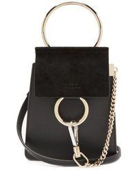 Chloé - Faye Mini Suede-panel Leather Cross-body Bag - Lyst