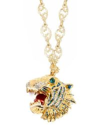 Gucci - Crystal-embellished Tiger Head Necklace - Lyst