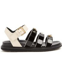 Marni - Triple-strap Embellished Leather Sandals - Lyst