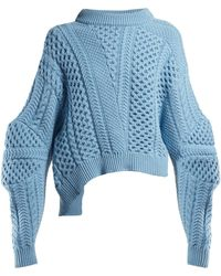 Stella McCartney - Cable Knit Cropped Sweater - Lyst