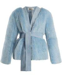 Diane von Furstenberg - Suede-trimmed V-neck Shearling Jacket - Lyst