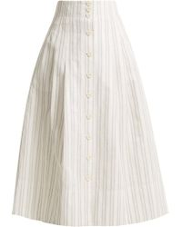 Rebecca Taylor - Striped Cotton And Linen Blend Skirt - Lyst