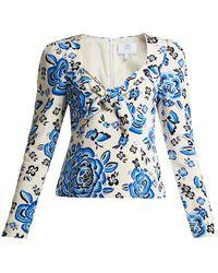 Rebecca de Ravenel - Zaza Floral-print Silk Crepe Top - Lyst