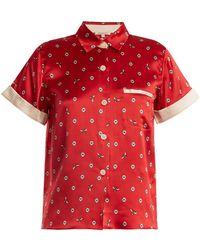 Morgan Lane - Staci Daisy-print Silk Pyjama Top - Lyst