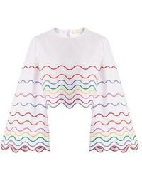 Sara Battaglia - Wave-embroidered Bell-sleeve Cotton Top - Lyst