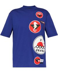 sale retailer c70c1 f8552 Prada - Nautical Appliqué Cotton T Shirt - Lyst