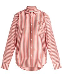 Martine Rose - Logo Embroidered Striped Cotton Shirt - Lyst