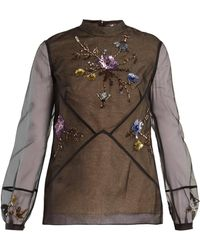 Erdem - Bernice Embellished Silk Organza Blouse - Lyst