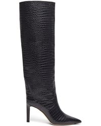 Jimmy Choo Mavis 85 Crocodile Effect Leather Boots - Gray