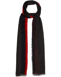 Gucci | Gg Supreme-print Scarf With Stripe | Lyst