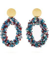 Carolina Herrera - Bead Embellished Hoop Clip On Earrings - Lyst