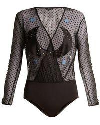 Morgan Lane - Starr Appliqué-embellished Bodysuit - Lyst