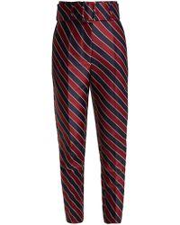 Sara Battaglia - Striped High Waisted Satin Trousers - Lyst