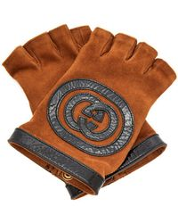 Gucci - Suede And Leather Fingerless Gloves - Lyst