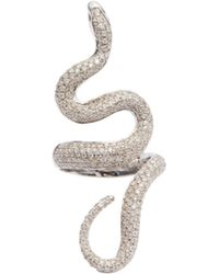 Lynn Ban - Diamond & Sterling Silver Snake Ring - Lyst