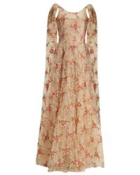 Luisa Beccaria - - Scoop Neck Floral Embroidered Tulle Gown - Womens - Cream Multi - Lyst