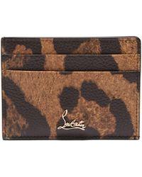 Christian Louboutin - Kios Leopard Print Leather Cardholder - Lyst