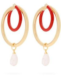 Peter Pilotto - Large Glass Pendant Double-hoop Earrings - Lyst