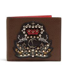 Christian Louboutin - Kaspero Embellished Bi Fold Leather Wallet - Lyst